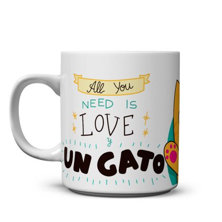 taza all you need is love y un gato